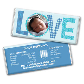 Bonnie Marcus Collection Personalized Chocolate Bar and Wrapper Patterned Love Boy Birth Announcement