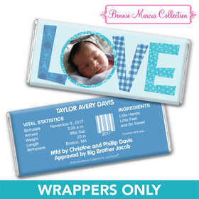 Bonnie Marcus Collection Personalized Chocolate Bar Wrapper Patterned Love Boy Birth Announcement
