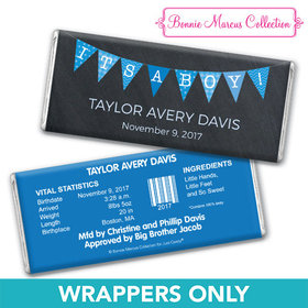 Bonnie Marcus Collection Personalized Chocolate Bar Wrapper It's a Boy Banner Boy Birth Announcement