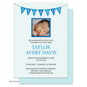 Bonnie Marcus Collection Personalized Chevron Banner Boy Birth Announcement