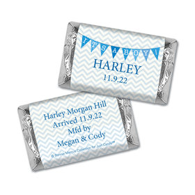Bonnie Marcus Collection Personalized Hershey's Miniatures Wrappers and Wrapper Chevron Banner Boy Birth Announcement