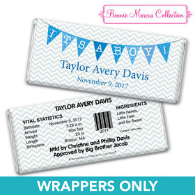 Bonnie Marcus Collection Personalized Chocolate Bar Wrapper Chevron Banner Boy Birth Announcement