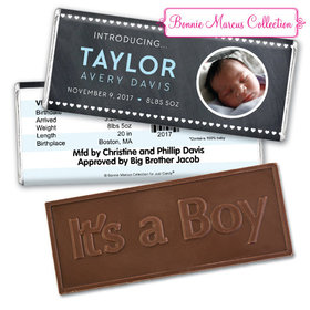 Bonnie Marcus Collection Personalized Photo Embossed It's a Boy Bar and Wrapper Heart Boy Birth Announcement