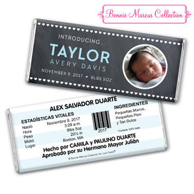 Bonnie Marcus Collection Personalized Photo Chocolate Bar and Wrapper Heart Boy Birth Announcement