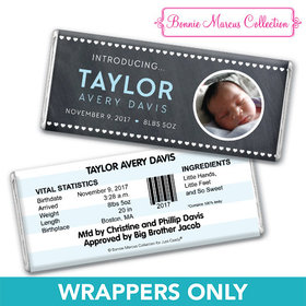 Bonnie Marcus Collection Personalized Photo Chocolate Bar Wrapper Heart Boy Birth Announcement