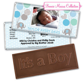 Bonnie Marcus Collection Personalized Embossed It's a Boy Bar and Wrapper Baby Elephants Boy Birth Announcement