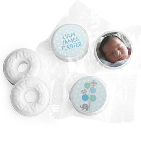 Bonnie Marcus Collection Personalized LIFE SAVERS Mints Baby Elephants Boy Birth Announcement