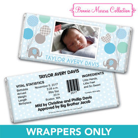 Bonnie Marcus Collection Personalized Chocolate Bar Wrapper Baby Elephants Boy Birth Announcement