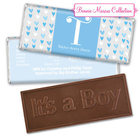 Bonnie Marcus Collection Personalized Embossed It's a Boy Bar and Wrapper Blue Hearts Boy Birth Announcement
