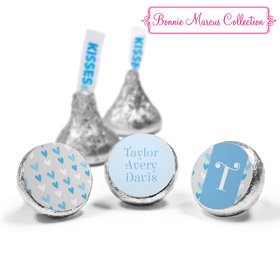 Bonnie Marcus Collection Personalized Hershey's Kisses Candy Blue Hearts Boy Birth Announcement (50 Pack)