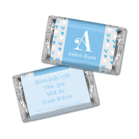 Bonnie Marcus Collection Personalized Hershey's Miniature and Wrapper Blue Hearts Boy Birth Announcement