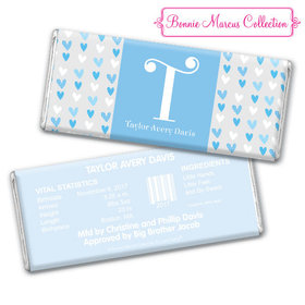 Bonnie Marcus Collection Personalized Chocolate Bar and Wrapper Blue Hearts Boy Birth Announcement