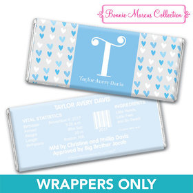 Bonnie Marcus Collection Personalized Chocolate Bar Wrapper Blue Hearts Boy Birth Announcement