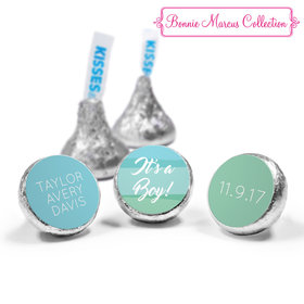 Bonnie Marcus Collection Personalized Hershey's Kisses Candy Watercolor Boy Birth Announcement (50 Pack)