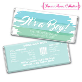 Bonnie Marcus Collection Personalized Chocolate Bar and Wrapper Watercolor Boy Birth Announcement