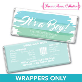 Bonnie Marcus Collection Personalized Chocolate Bar Wrapper Watercolor Boy Birth Announcement