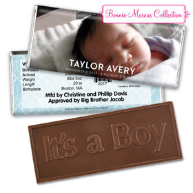 Bonnie Marcus Collection Personalized Embossed It's a Boy Bar and Wrapper Photo Birth Announcement
