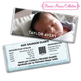 Bonnie Marcus Collection Personalized Chocolate Bar and Wrapper Photo Birth Announcement