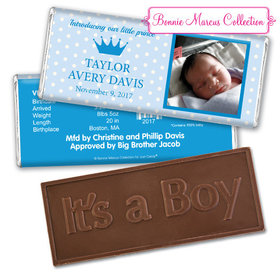 Bonnie Marcus Collection Personalized Embossed It's a Boy Bar Polka Dots & Crown Birth Announcement
