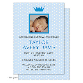 Bonnie Marcus Collection Personalized Its a Boy Crown Birth Announcement