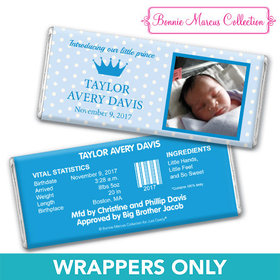 Bonnie Marcus Collection Personalized Wrapper Polka Dots & Crown Birth Announcement
