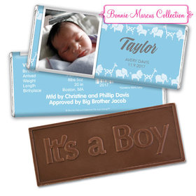 Bonnie Marcus Collection Personalized Embossed It's a Boy Bar Animal Parade Birth Announcement