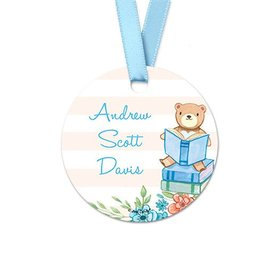 Personalized Round Reading Bear Baby Boy Announcement Favor Gift Tags (20 Pack)