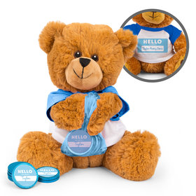 Personalized Birth Announcement Hello Baby Boy Teddy Bear with Chocolate Coins in XS Organza Bag