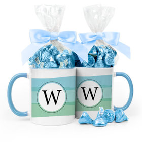 Personalized Baby Boy Announcement Watercolor 11oz Mug with Hershey's Kisses