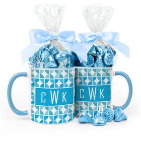Personalized Baby Boy Announcement Pattern 11oz Mug with Hershey's Kisses