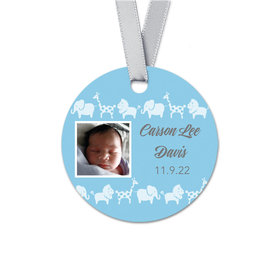 Personalized Round Baby Boy Bonnie Marcus Animal Parade Birth Announcement Favor Gift Tags (20 Pack)