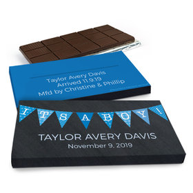 Deluxe Personalized It's A Boy Banner Chocolate Bar in Gift Box (3oz Bar)