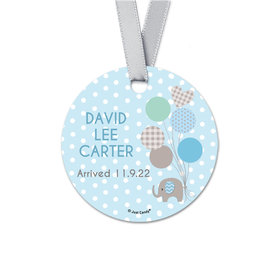 Personalized Round Baby Boy Bonnie Marcus Boy Elephant Birth Announcement Favor Gift Tags (20 Pack)