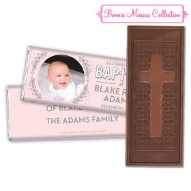 Personalized Bonnie Marcus Baptism Filigree and Heart Embossed Chocolate Bar