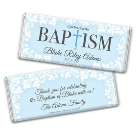 Personalized Bonnie Marcus Baptism Floral Filigree Chocolate Bar Wrappers Only