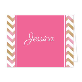 Bonnie Marcus Collection Pink Chevron Photo Birthday Thank You
