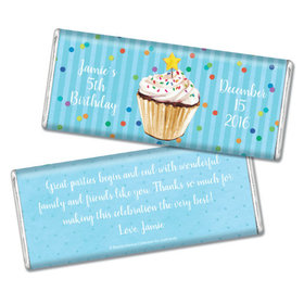 Bonnie Marcus Collection Personalized Chocolate Bar Birthday Wrapper with Gold Foils Cupcake Dazzle