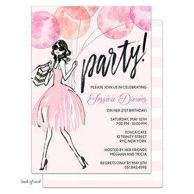 Bonnie Marcus Collection Personalized Whimsical Watercolor BalloonsBirthday Invitation