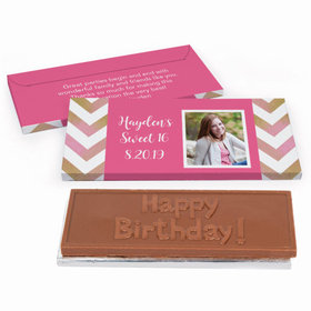 Deluxe Personalized Sweet 16 Picture Your Birthday Chocolate Bar in Gift Box