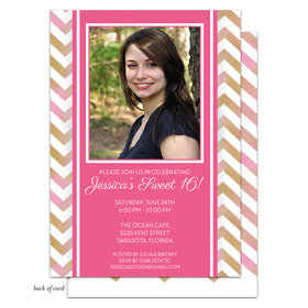 Bonnie Marcus Collection Personalized Pink Chevron Photo Birthday Invitation