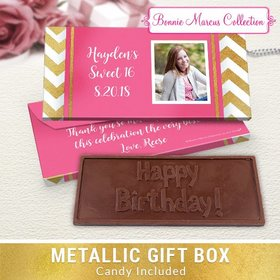 Deluxe Personalized Birthday Chevron Chocolate Bar in Metallic Gift Box