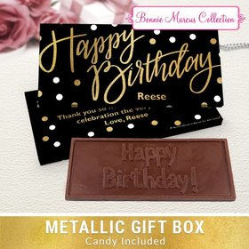 Deluxe Personalized Birthday Polka Dots Chocolate Bar in Metallic Gift Box