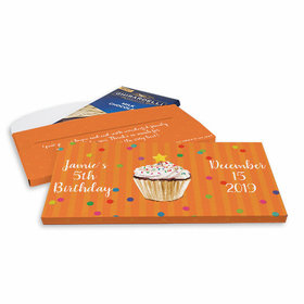 Deluxe Personalized Cupcake Dazzle Birthday Ghirardelli Chocolate Bar in Gift Box