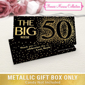Deluxe Personalized Big 5-0 Birthday Metallic Candy Bar Cover