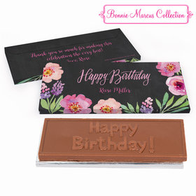 Deluxe Personalized Birthday Charcoal Floral Embrace Chocolate Bar in Gift Box
