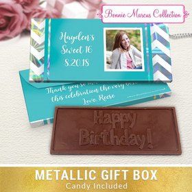 Deluxe Personalized Birthday Turquoise Chevron Chocolate Bar in Metallic Gift Box