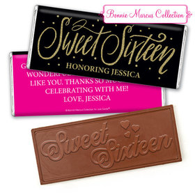 Personalized Bonnie Marcus Sweet 16 Gold Dots Embossed Chocolate Bar