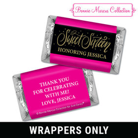Personalized Bonnie Marcus Sweet 16 Gold Dots Mini Wrappers Only