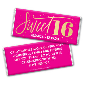 Personalized Bonnie Marcus Sweet 16 Pink & Gold Chocolate Bar Wrappers Only