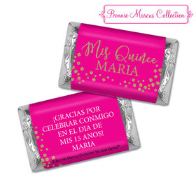 Personalized Bonnie Marcus Quinceanera Gold Sparkle Hershey's Miniatures